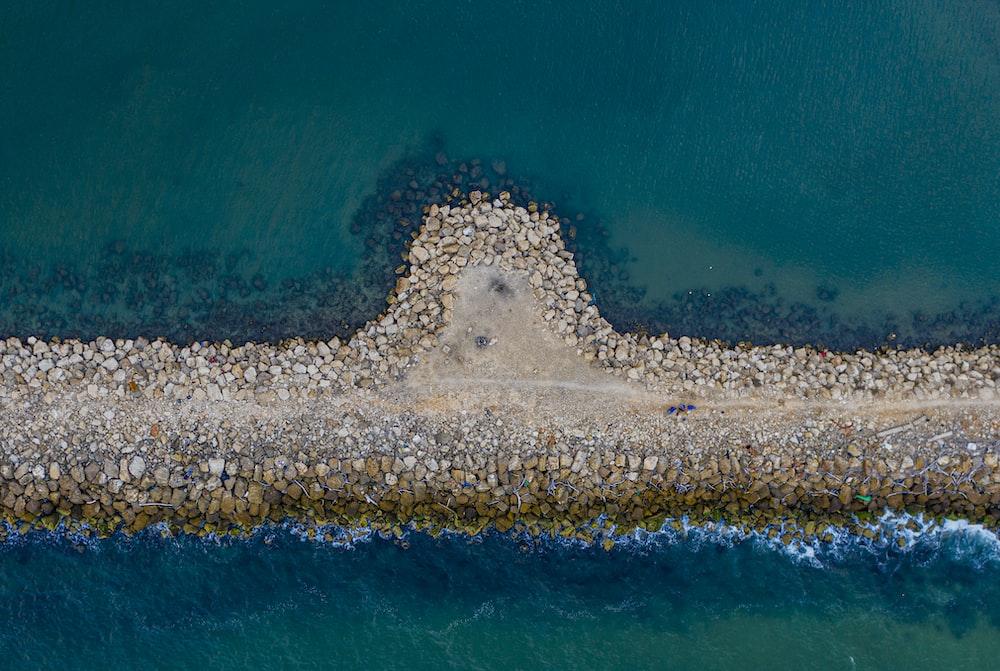 aerial photo of sea wall