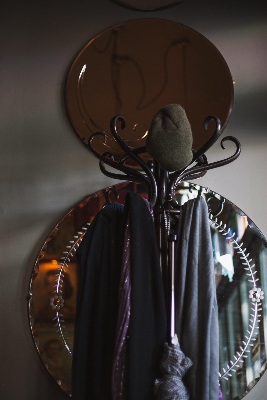 black and brown coat rack