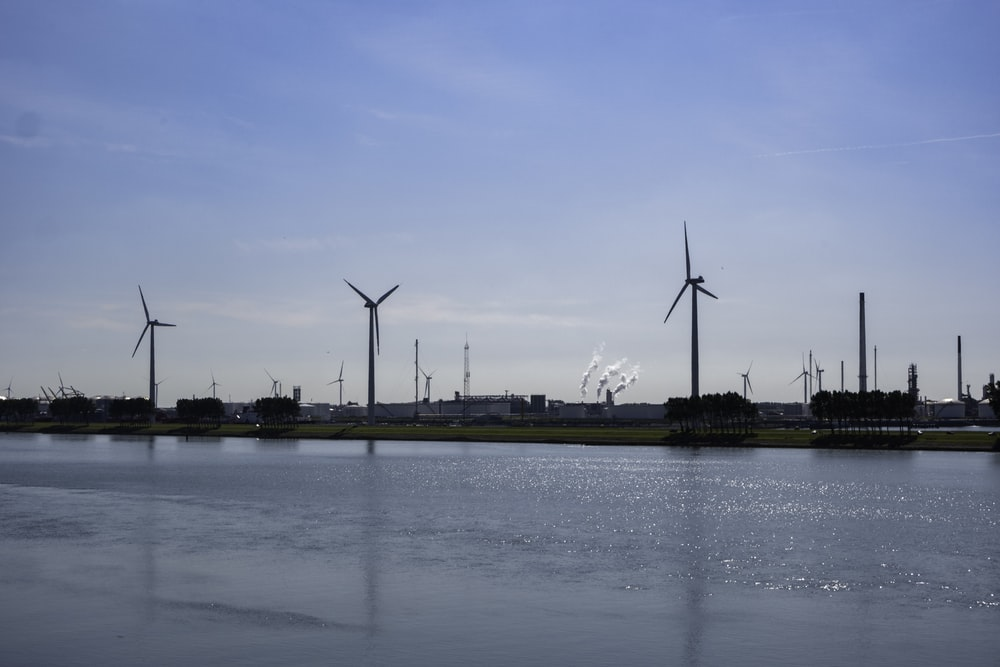 wind turbines near body of water
