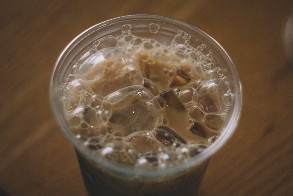 filled ice coffee cup