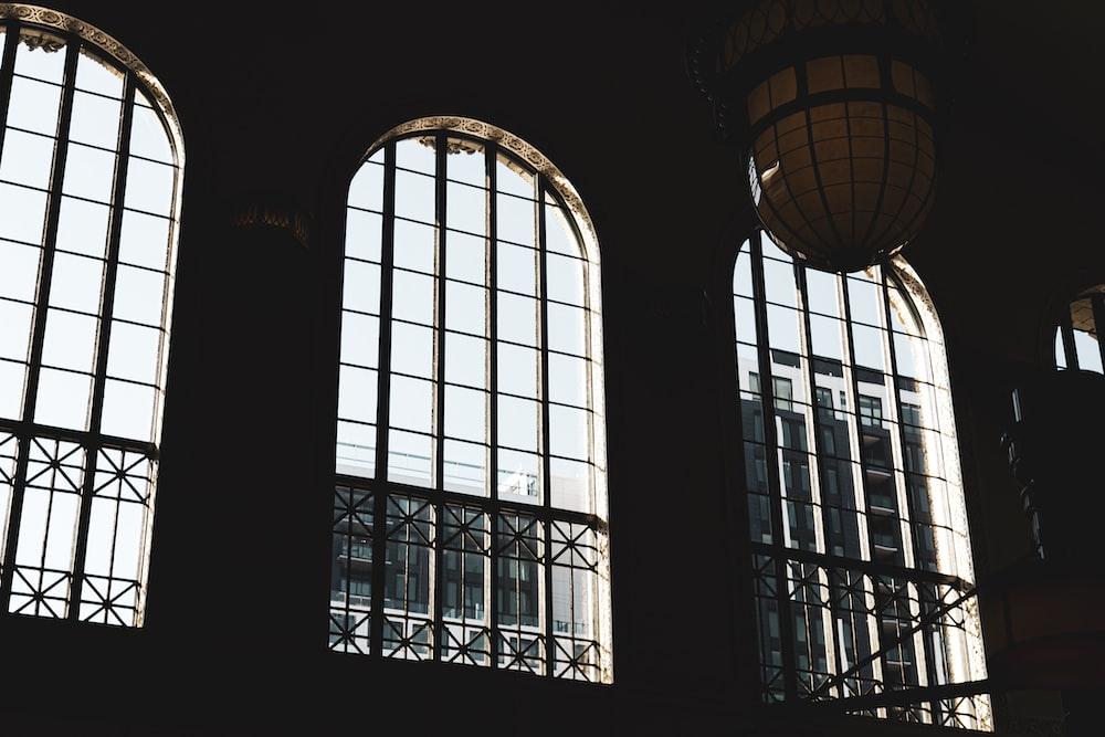 three glass windows