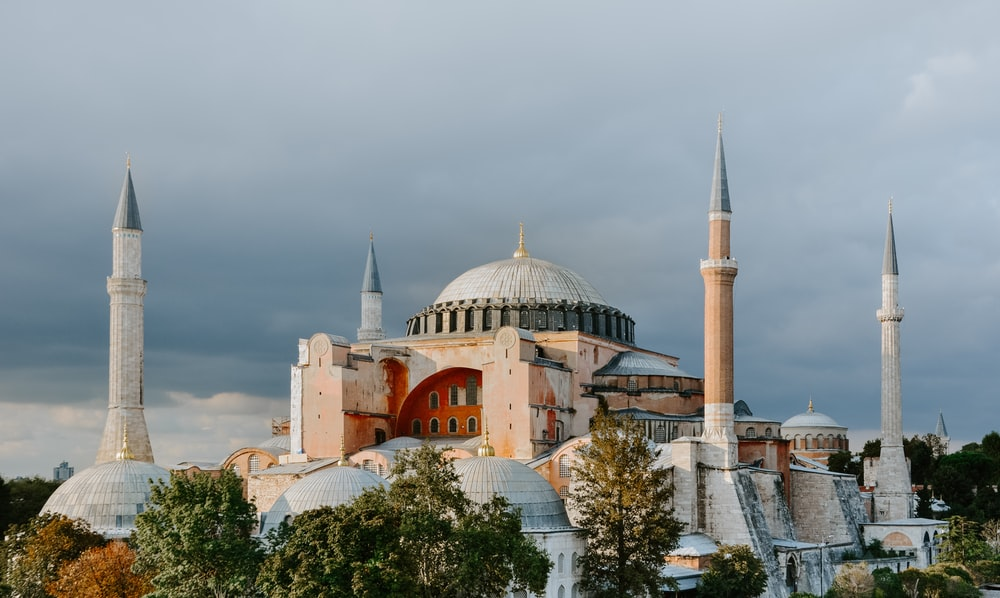white and brown mosque