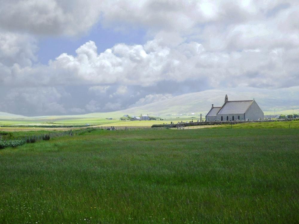 white cabin on grass field