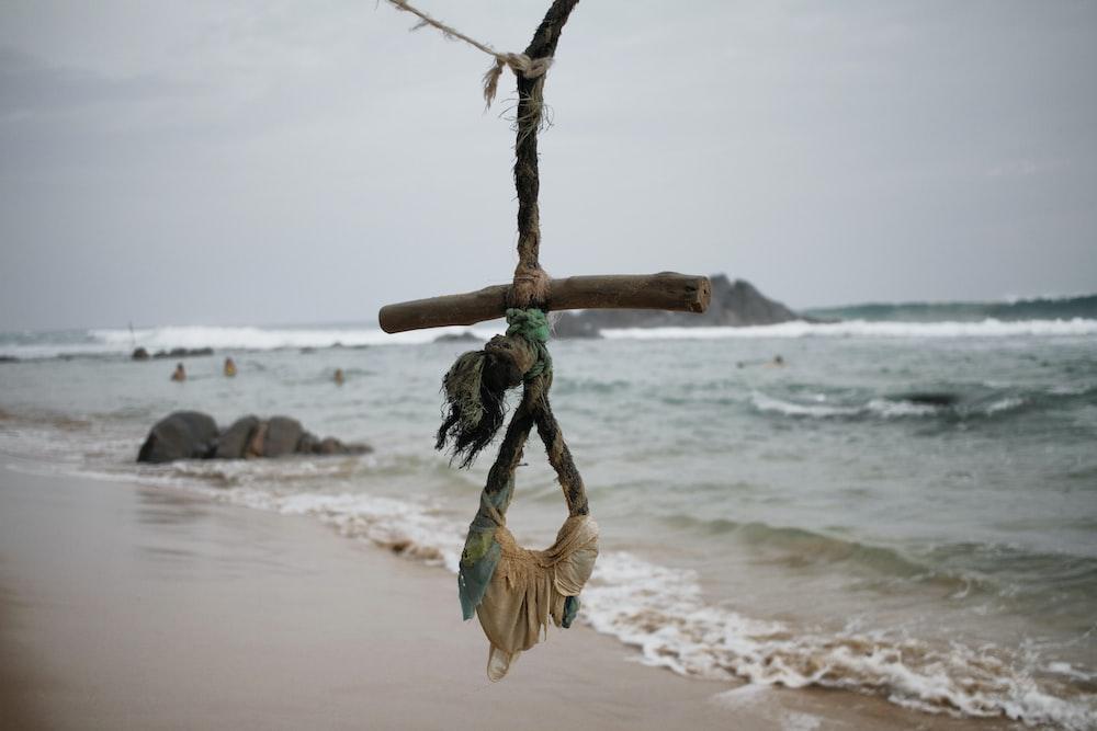 wooden stick on seashore