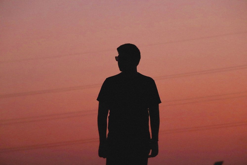 silhouette photograph of man