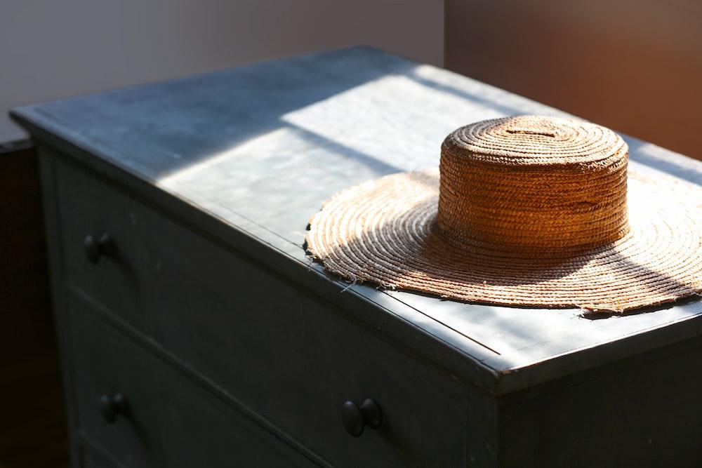 round brown straw hat