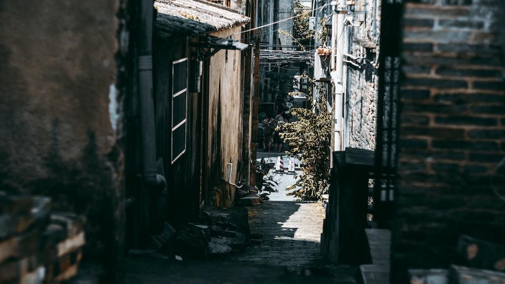 alley road between houses