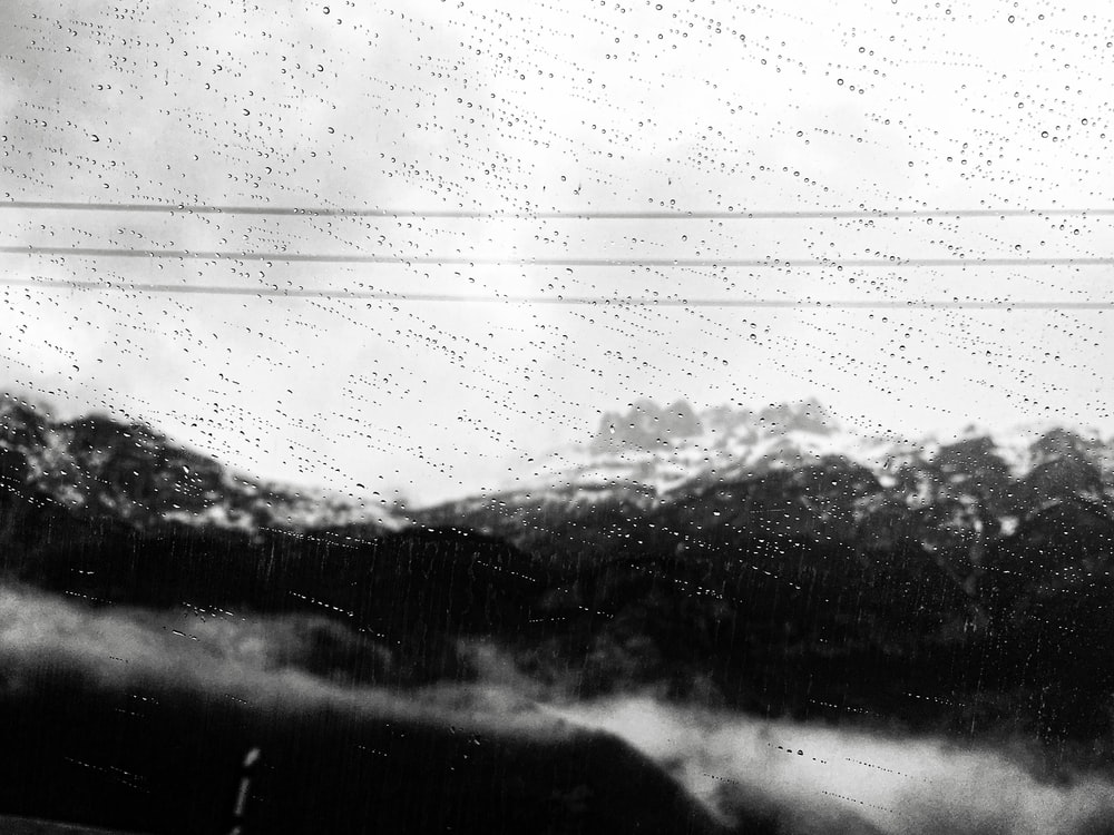 view of mountains during a rainy weather
