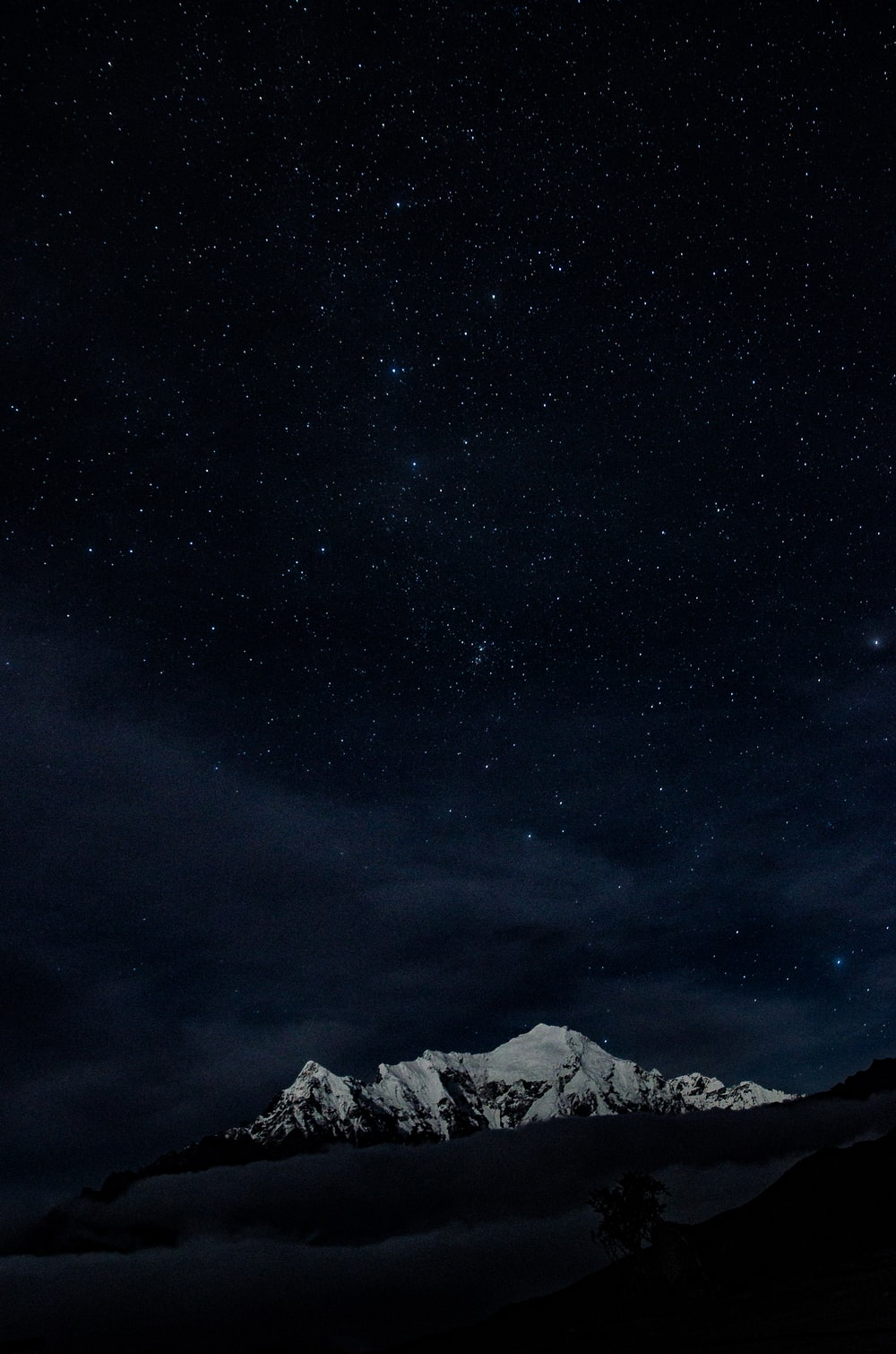 glacier mountain under starry night