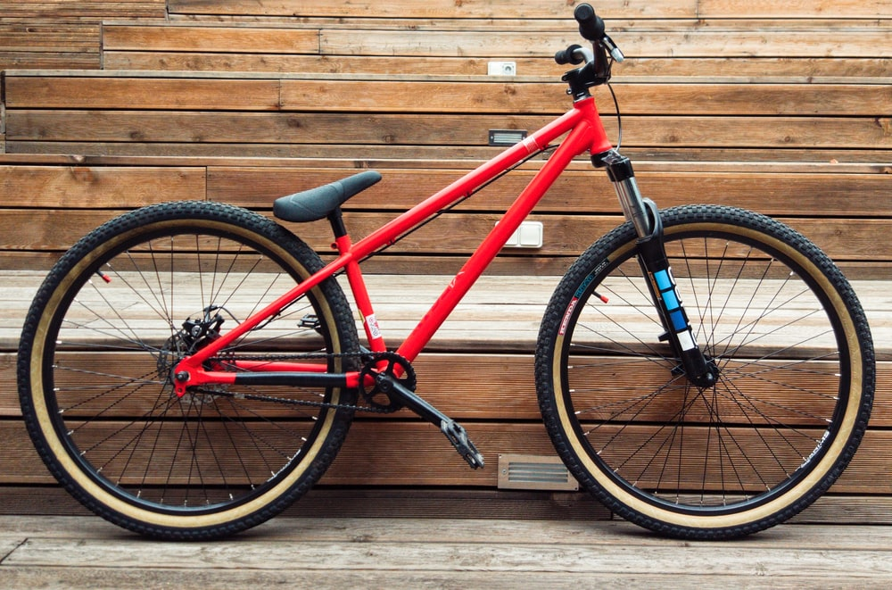 black and red bicycle