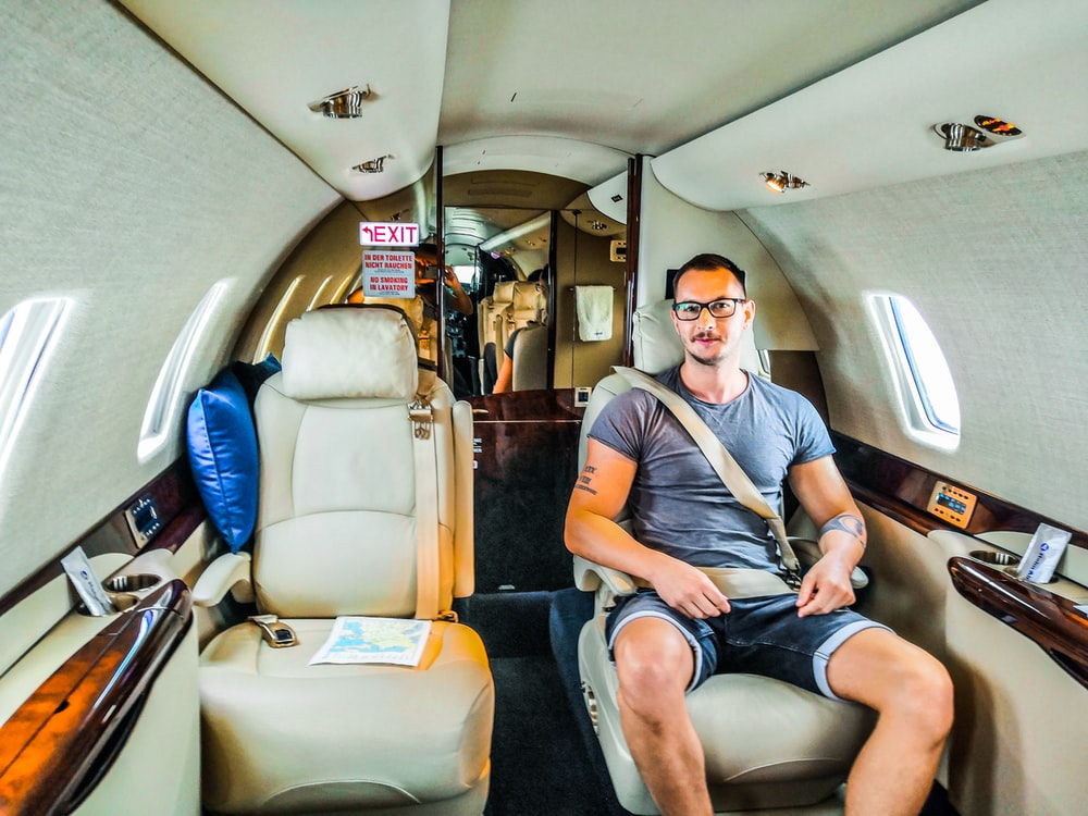 man inside airplane