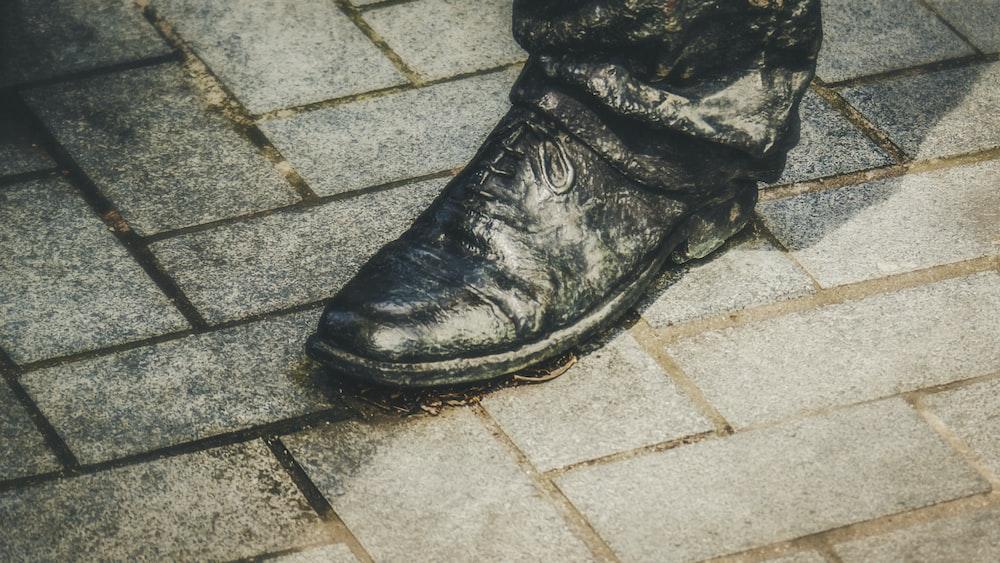 black leather shoe painting