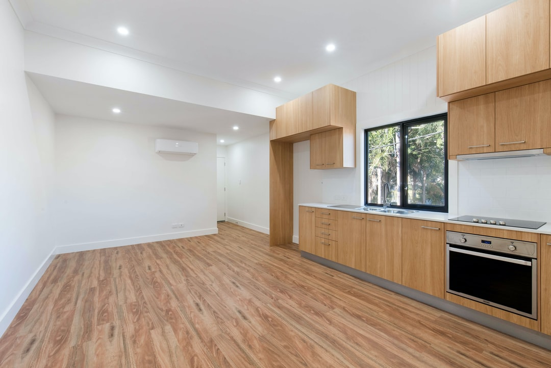 Combined living/dining and kitchen space.