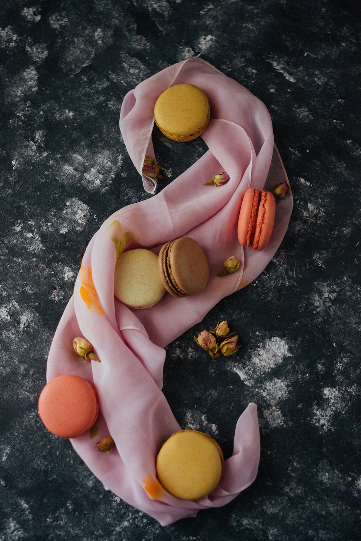 macaroons on pink textile