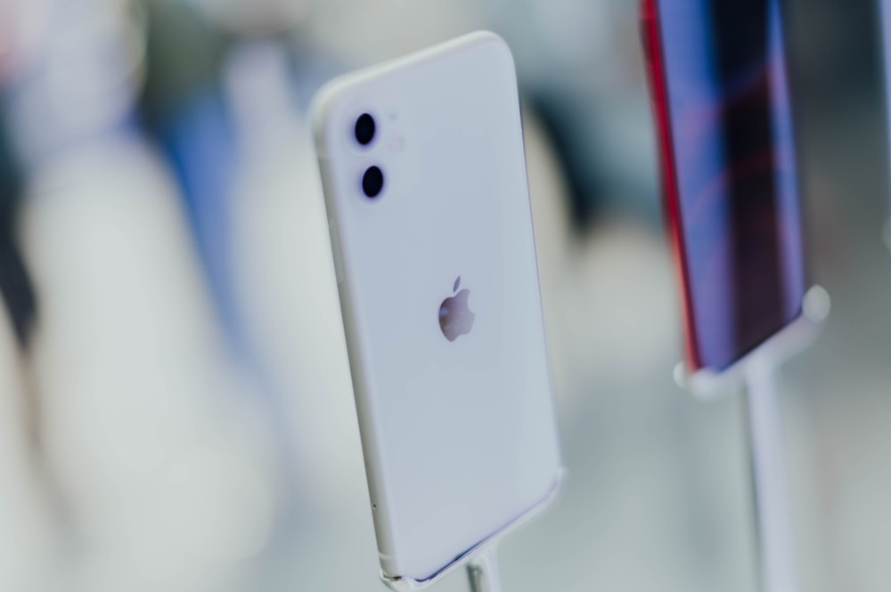 close-up photography of white iPhone
