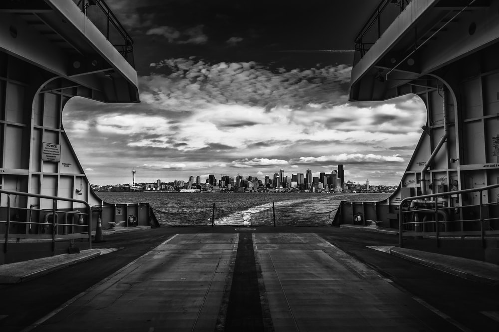 grayscale photography of ship