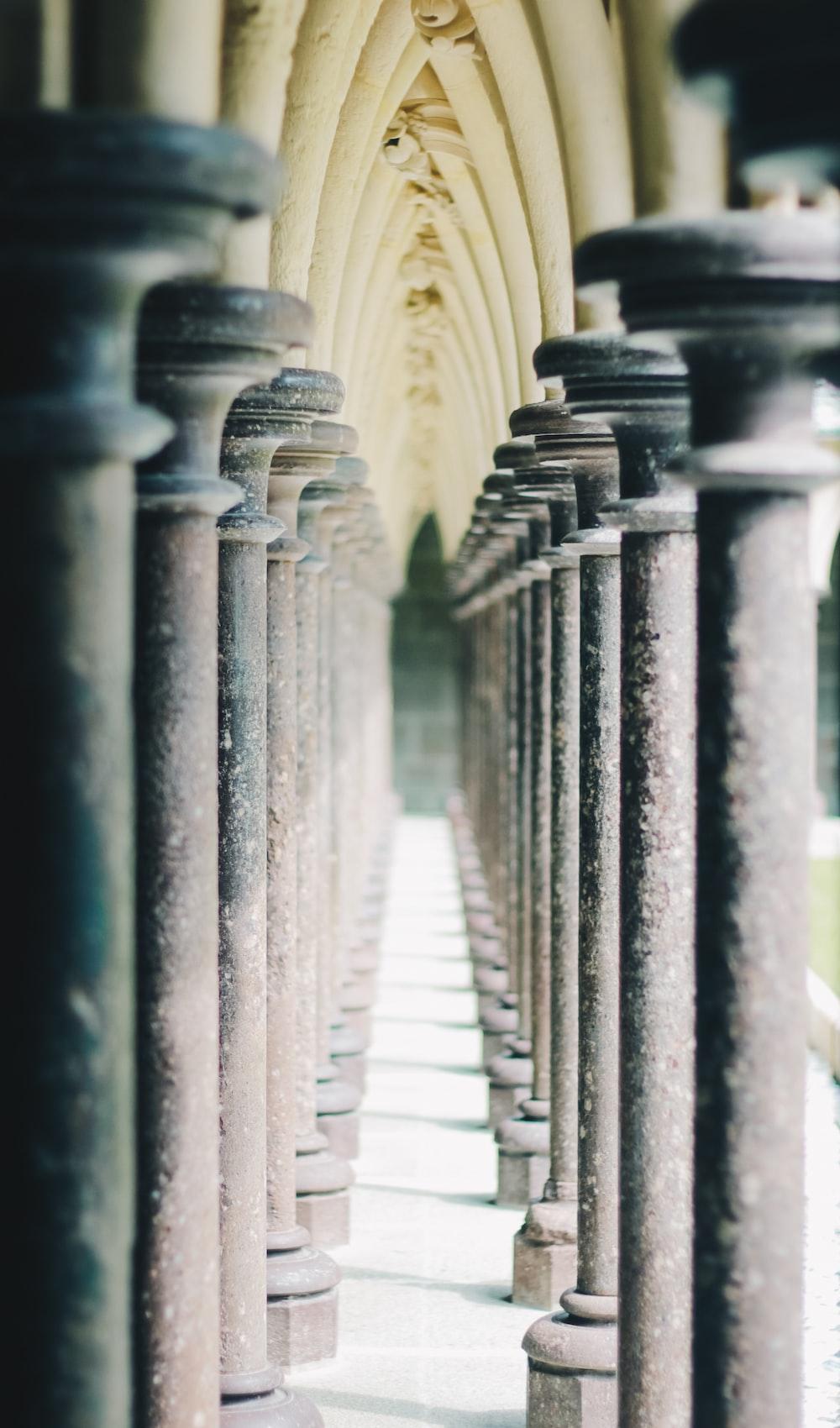 beige concrete pedestals