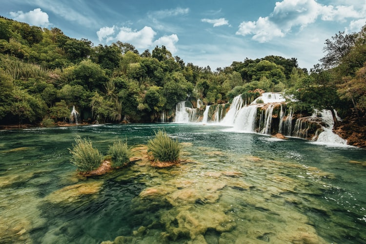 Crystal clear water at the Waterfalls in Krka National Park in Croatia