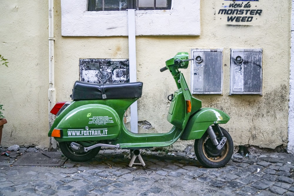 green automatic scooter