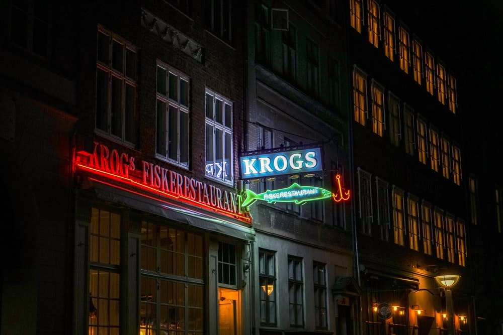 blue Krogs neon signage