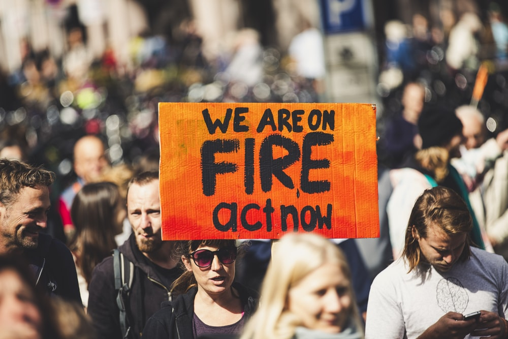 we are on fire act now signage