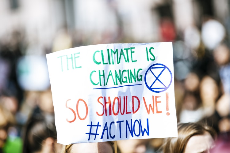 "A close up photo of a sign at a protest that says ""The climate is changing, so should we! Act now!"""