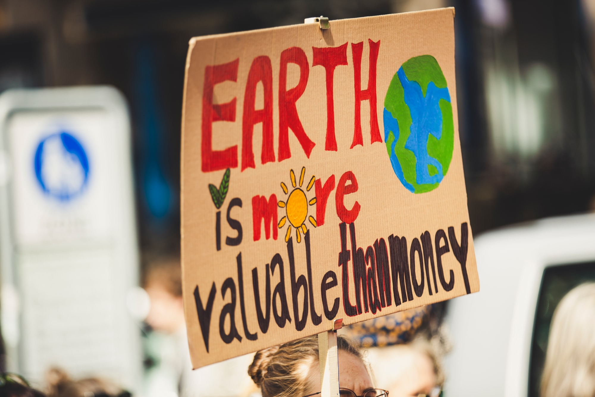 EARTH IS MORE VALUABLE THAN MONEY. Global climate change strike - No Planet B - 09-20-2019