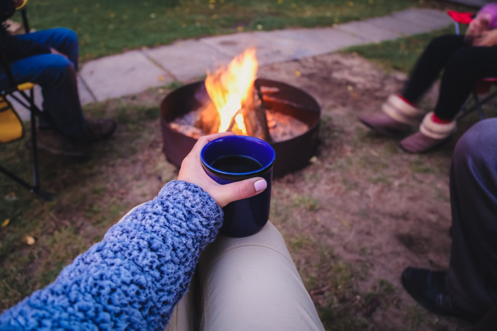 blue ceramic mug