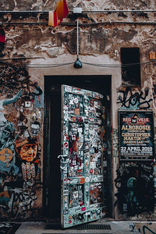 assorted-color paneled door