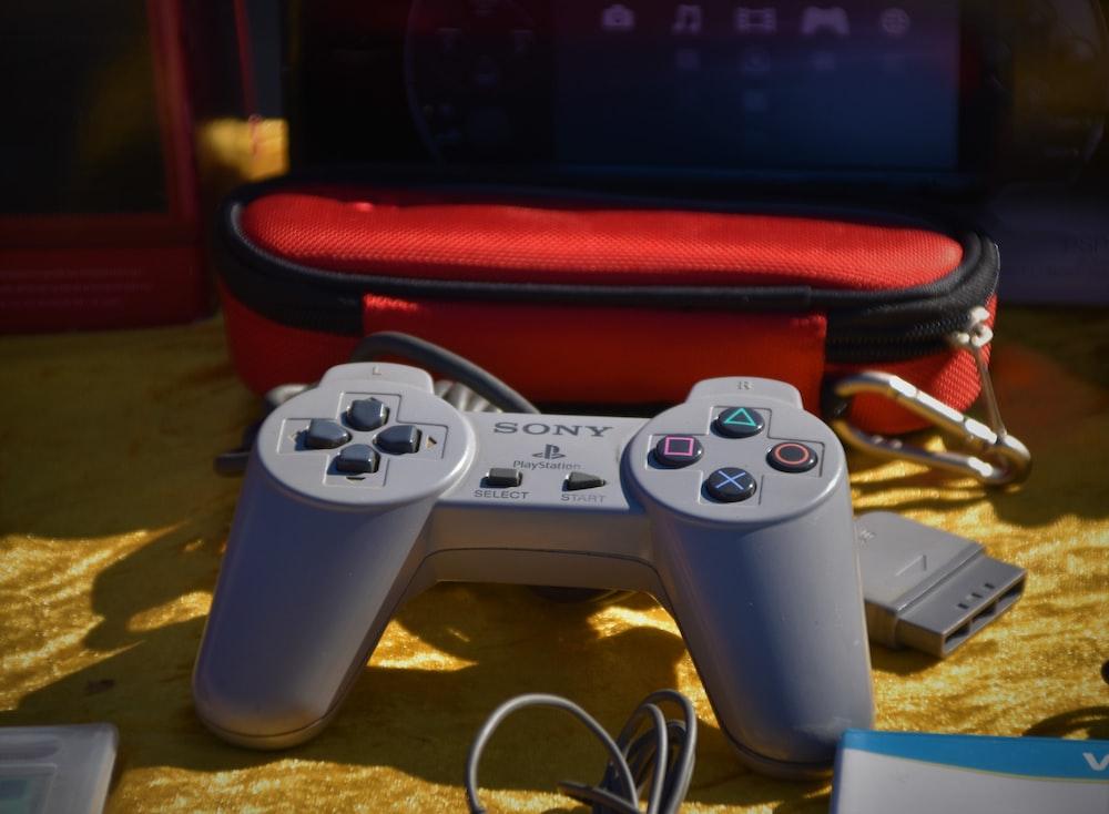grey Sony controller