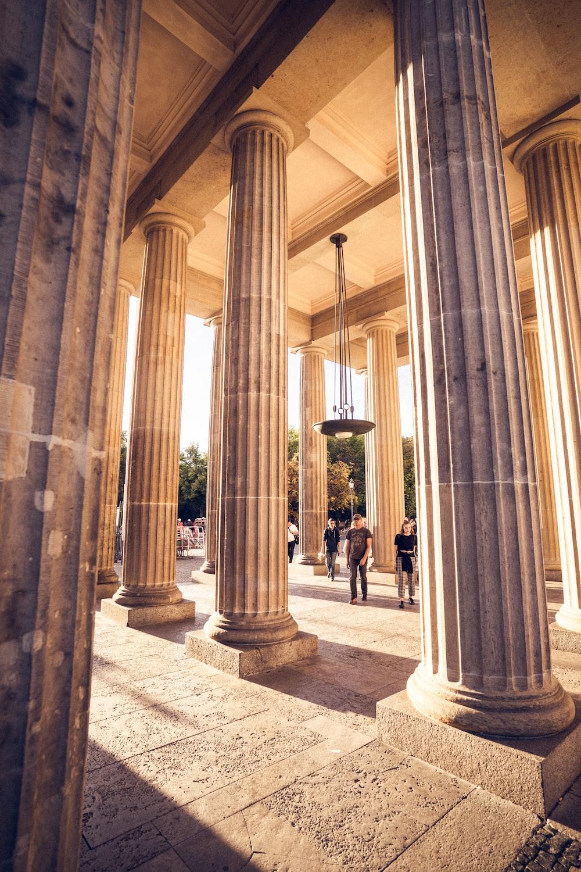 white painted concrete pillars