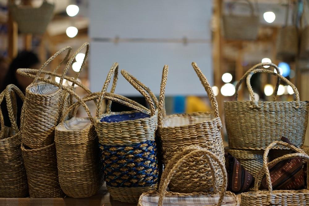 pile of beige wicker baskets