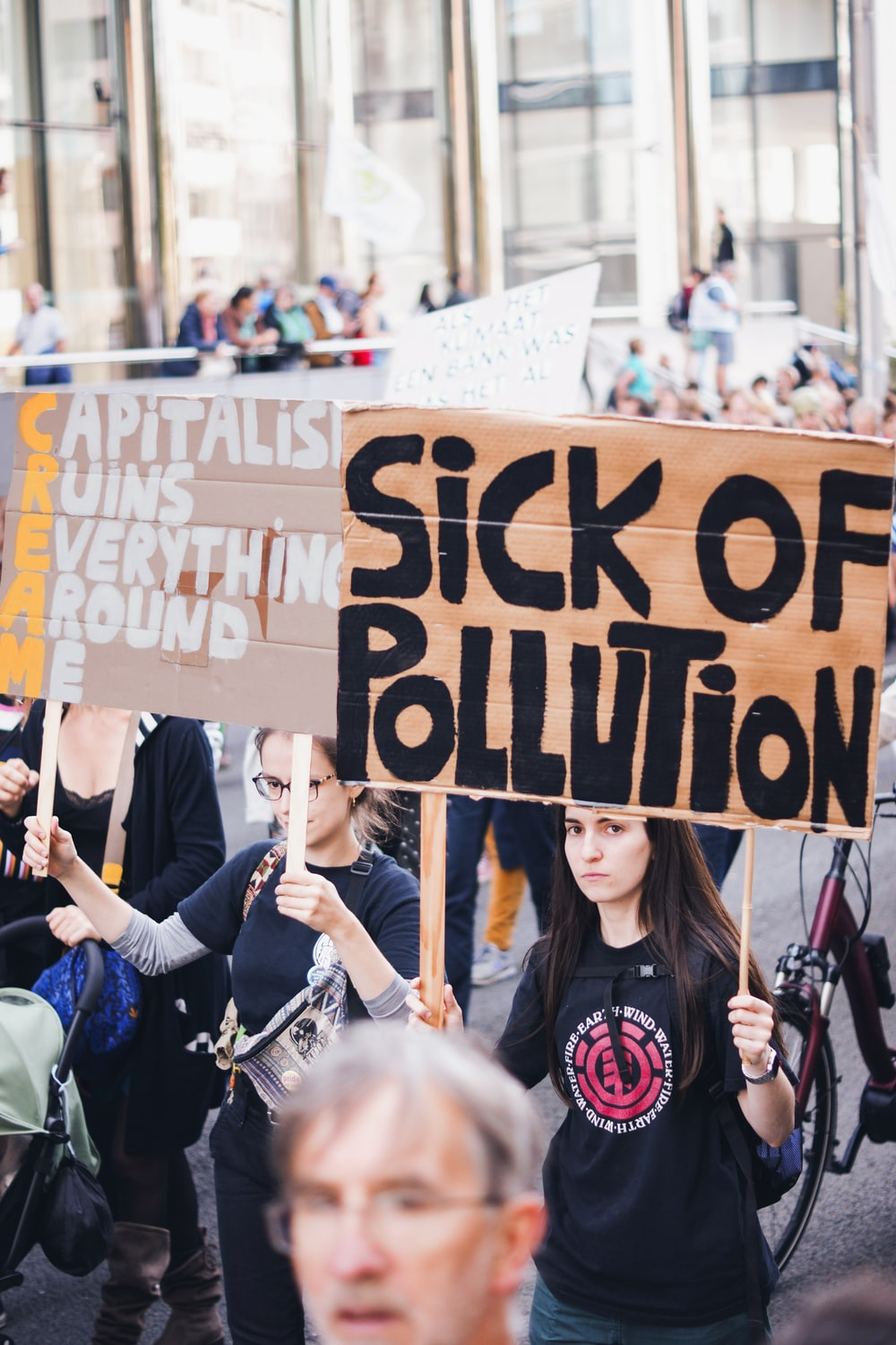 sick of pollution placard