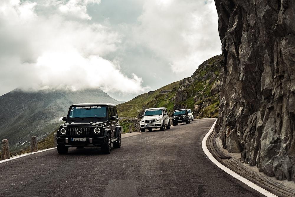 SUV's on road