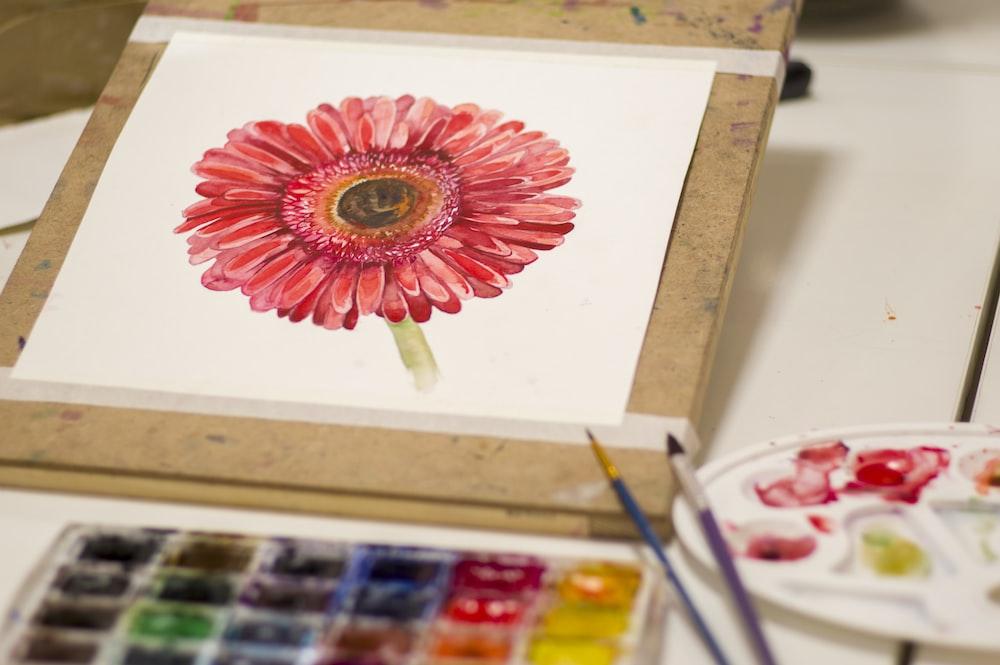 red petaled flower artwork