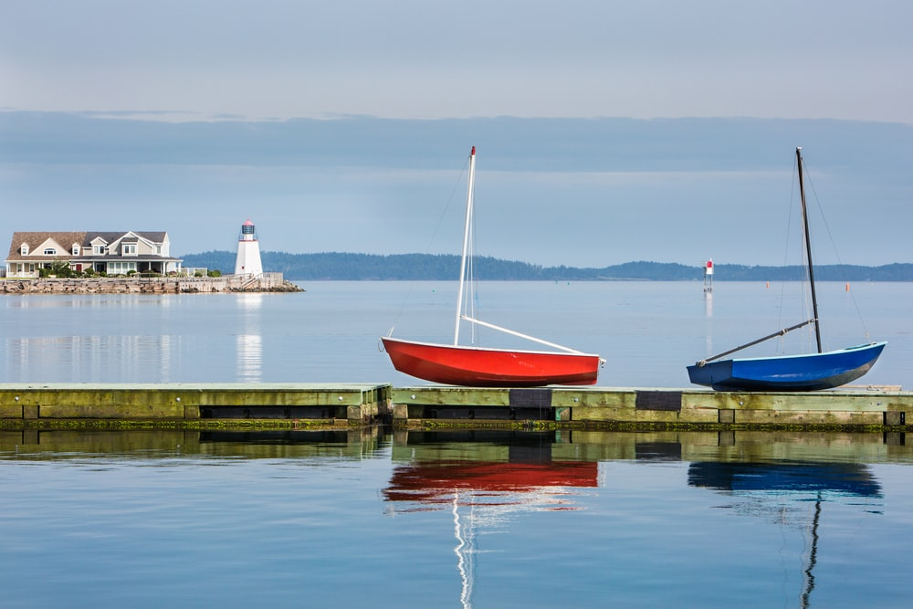 two red and blue boats