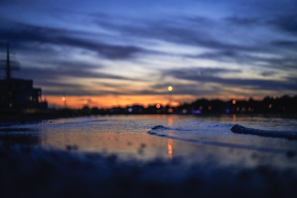 seashore during night time
