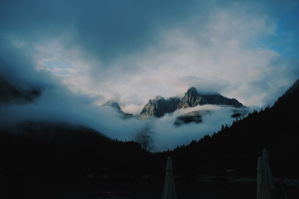 silhouette of foggy mountain scenery