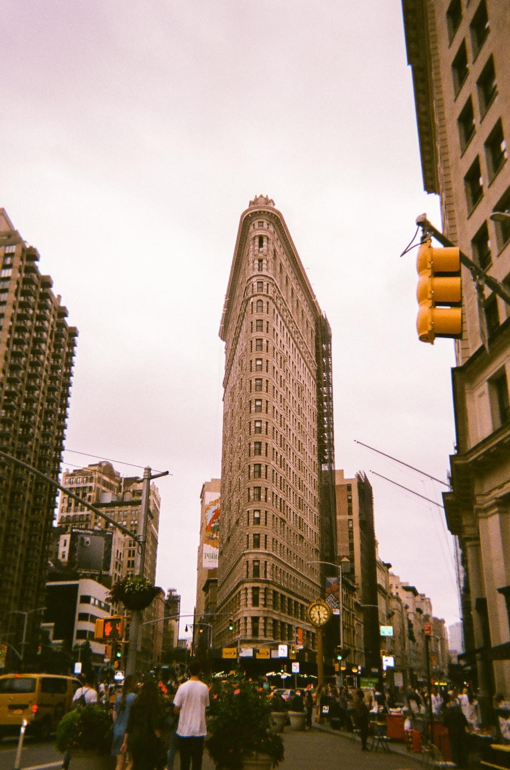 beige painted city building