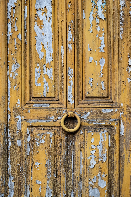 yellow wooden door