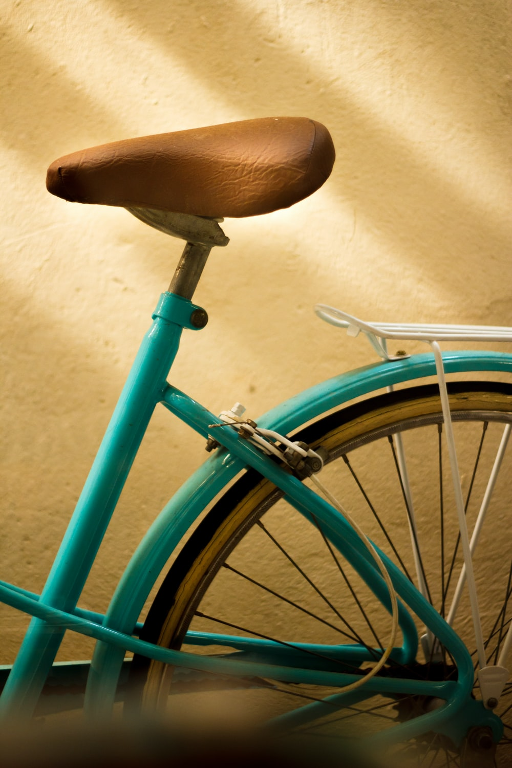 blue and brown bicycle