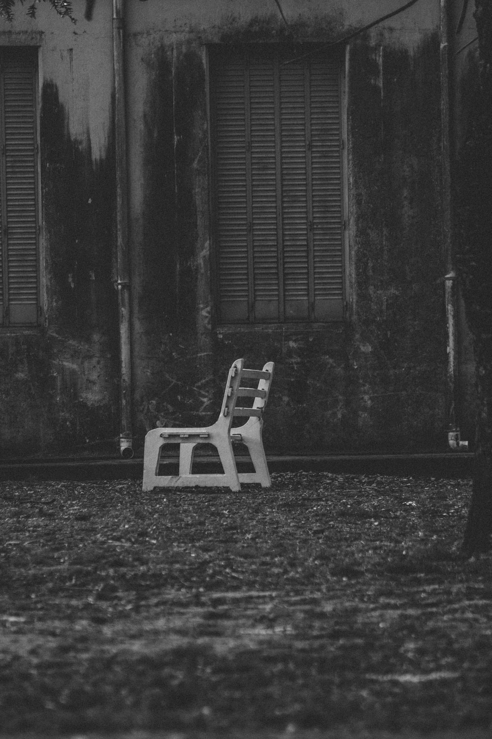 grayscale photography of park bench