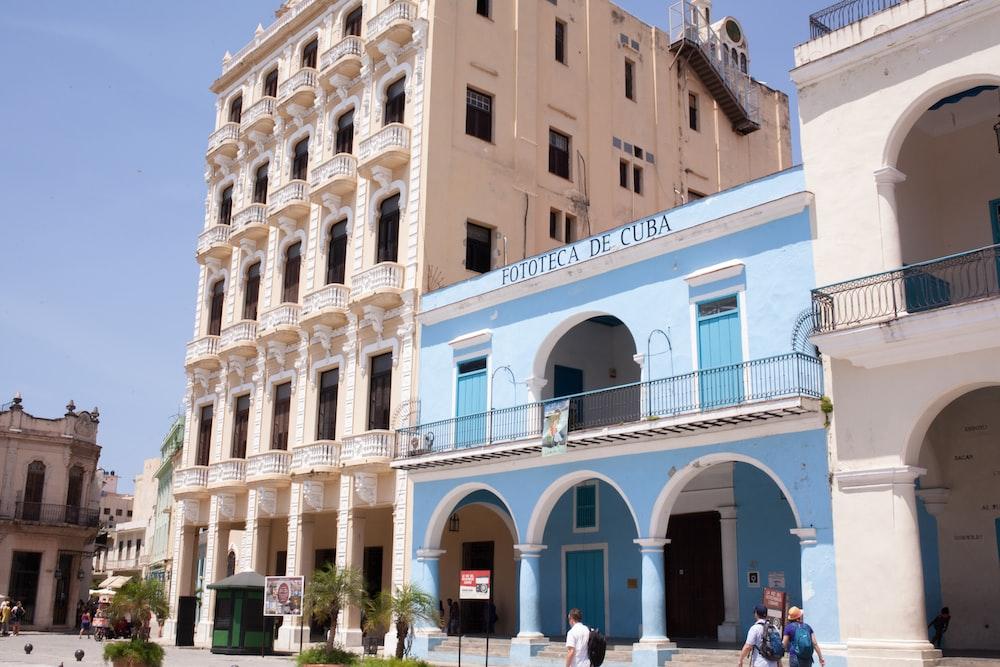 blue painted building