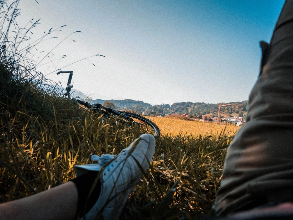 bike on grass field