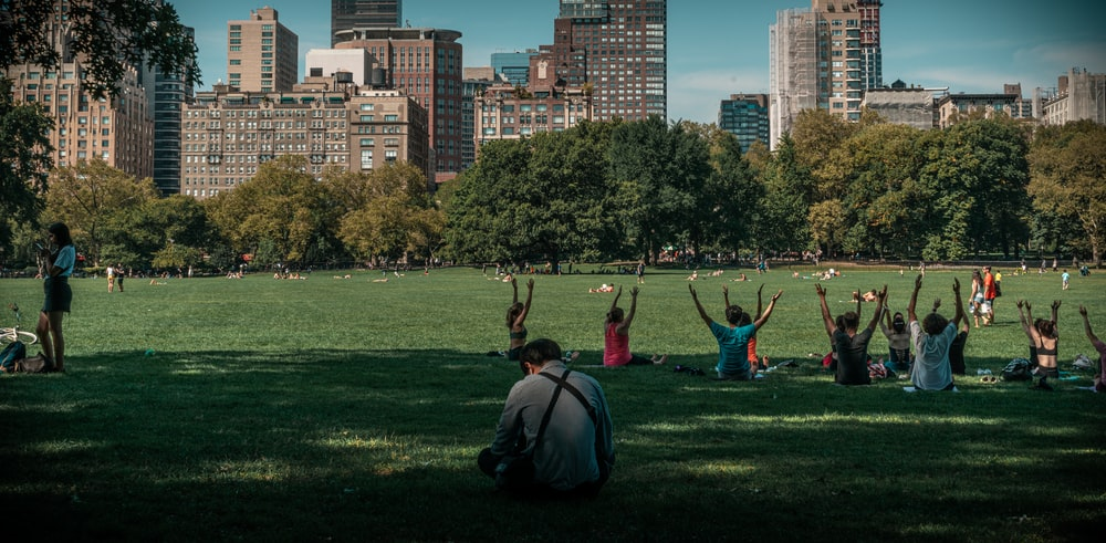 people taking exercise on green grass field
