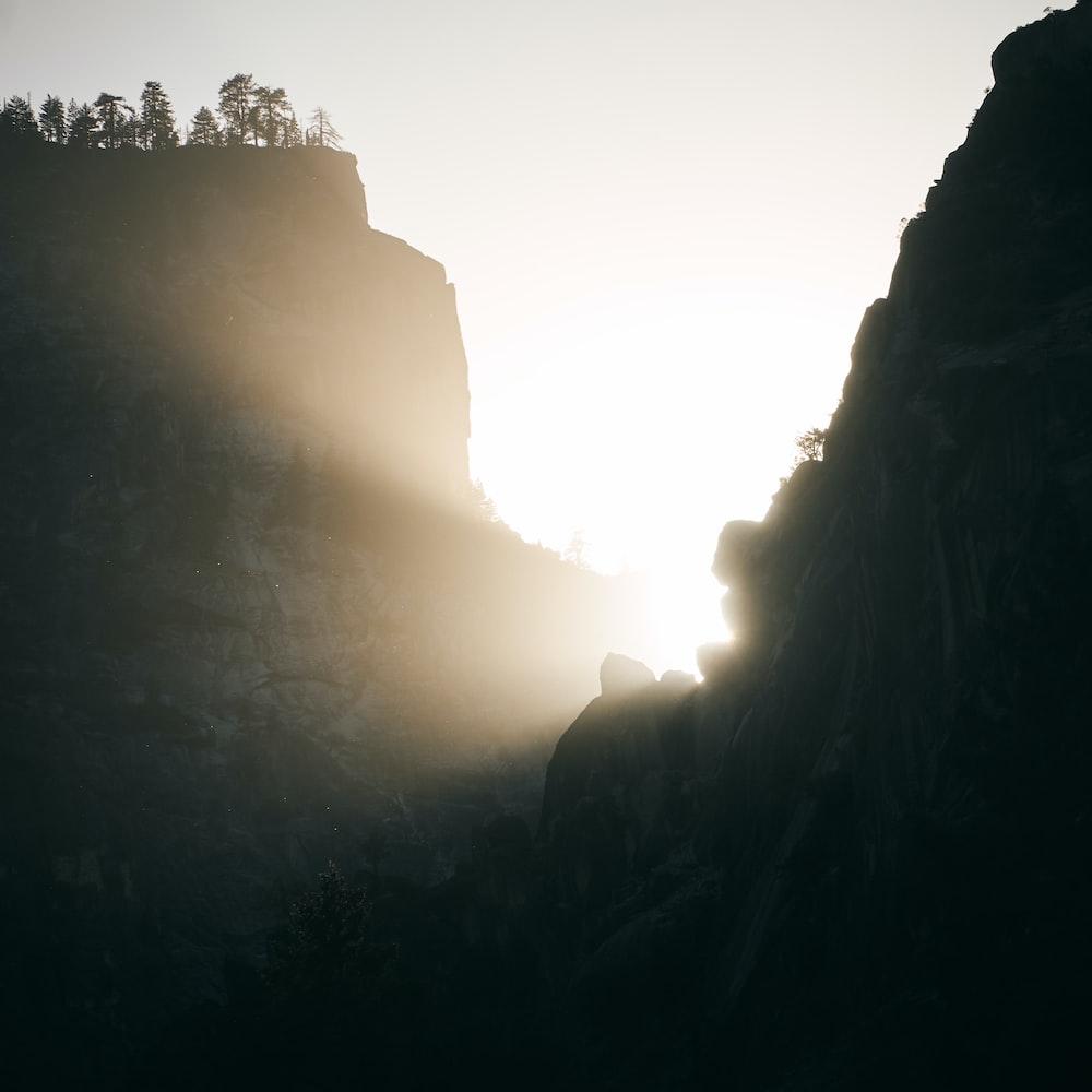 silhouette of foggy mountain
