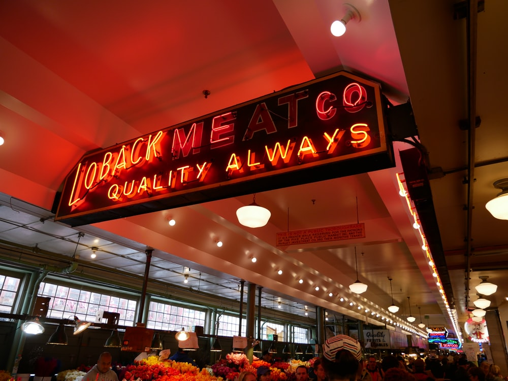 Loback Meat co red LED signage