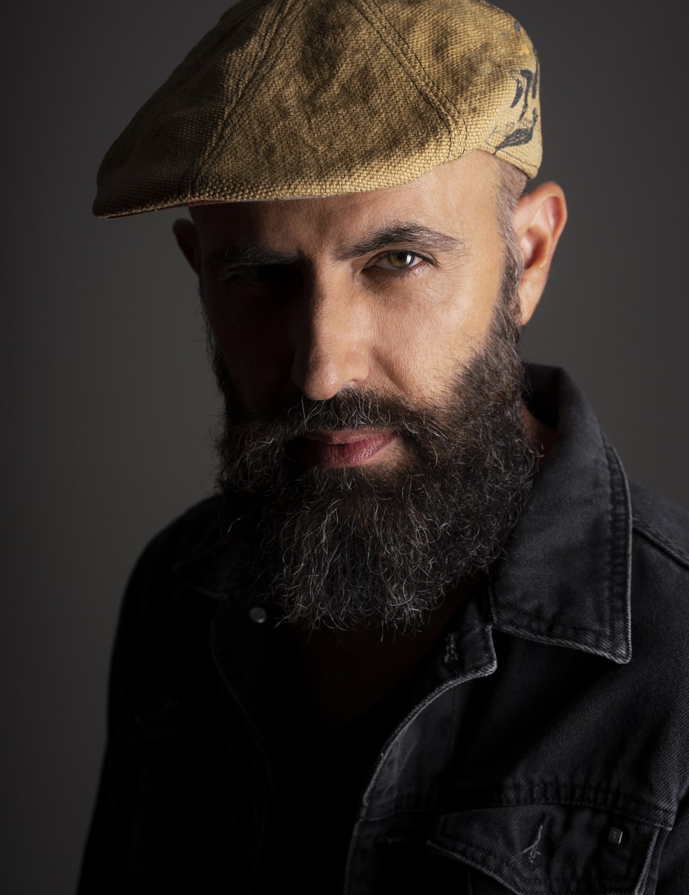 bearded man glaring