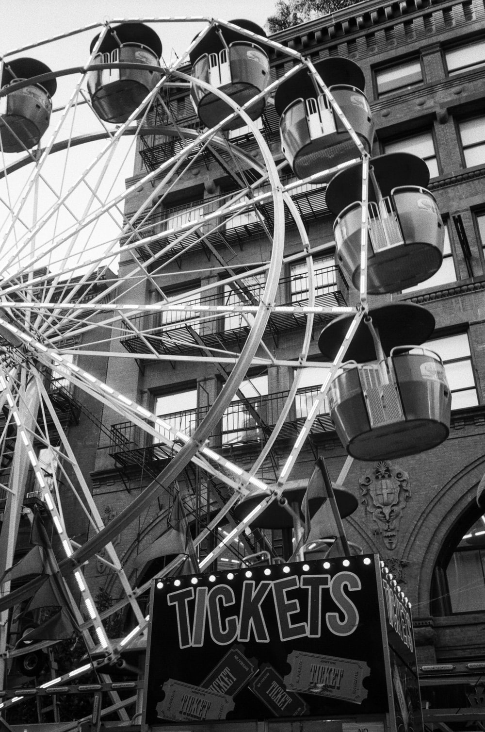 grayscale photography of ferris wheel