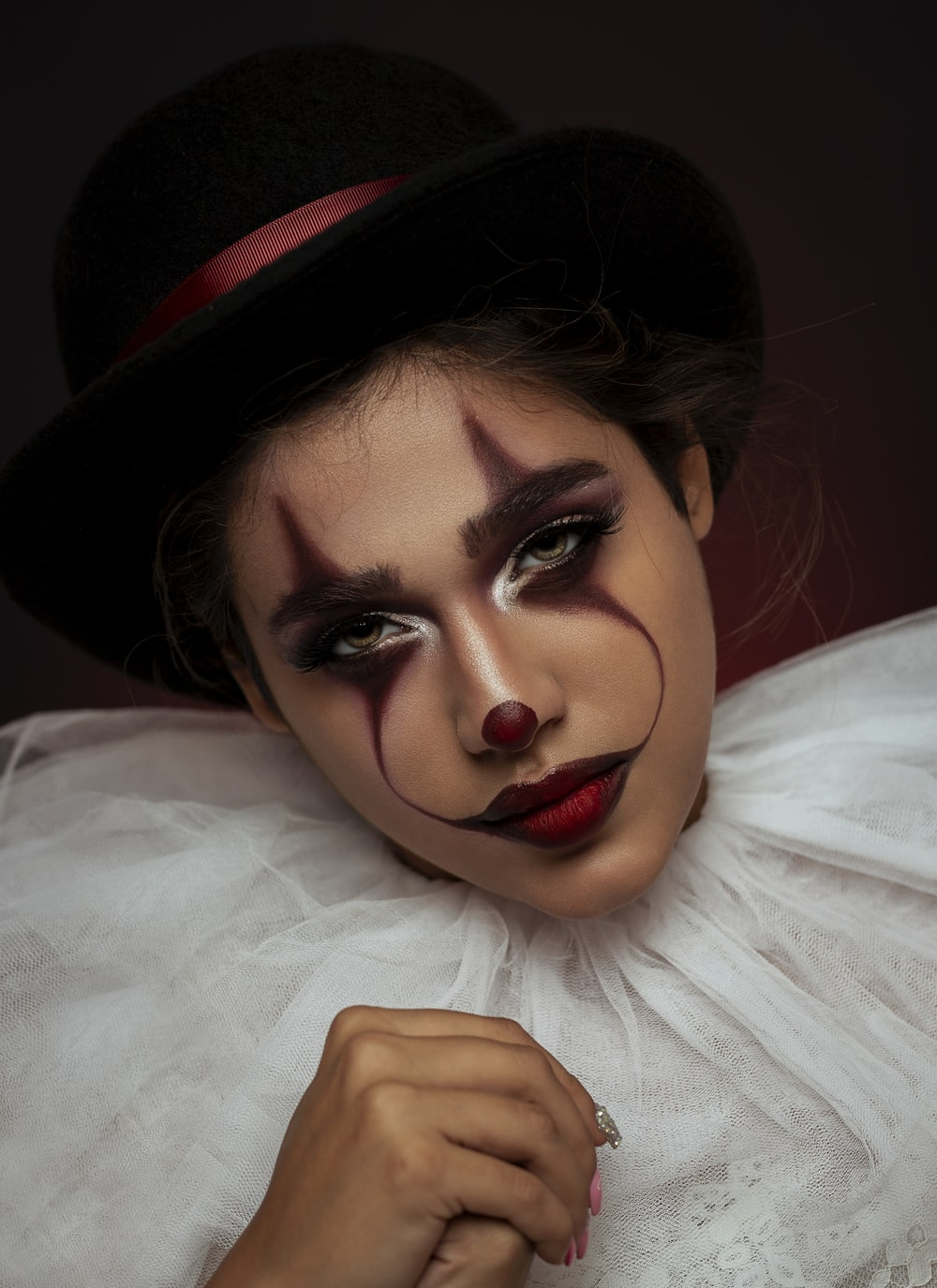 woman with clown-themed makeup